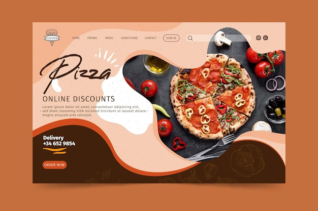 Pizza restaurant landing page Free Vector