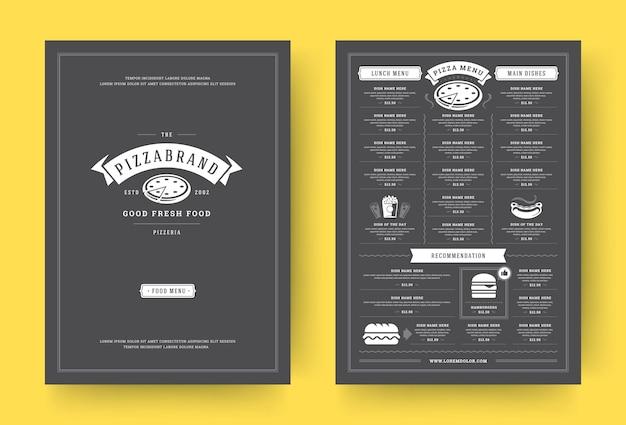 ピザレストランメニューレイアウトデザインパンフレット Premiumベクター