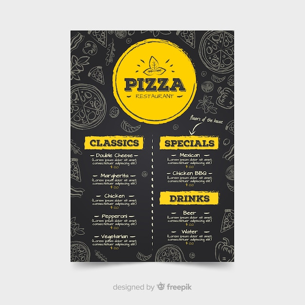 Pizza restaurant menu template with chalkboard style Free Vector