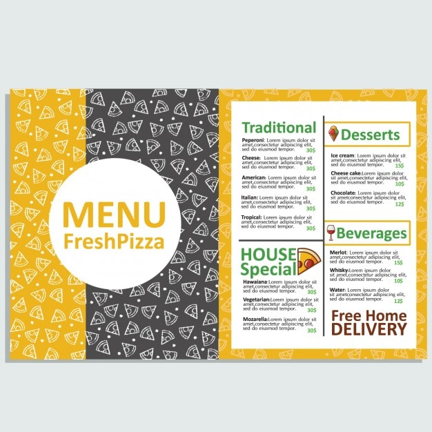 Pizza Restaurant Menu Template Vector Free Download - Delivery menu template