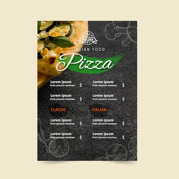 Pizza restaurant menu template Free Vector