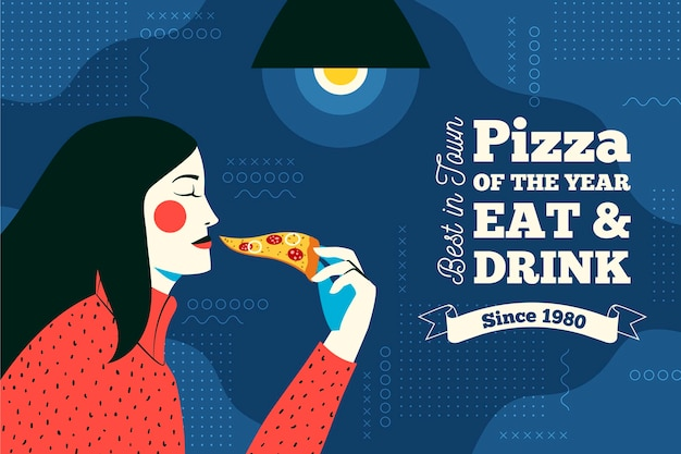 Пицца ресторан настенные обои Бесплатные векторы