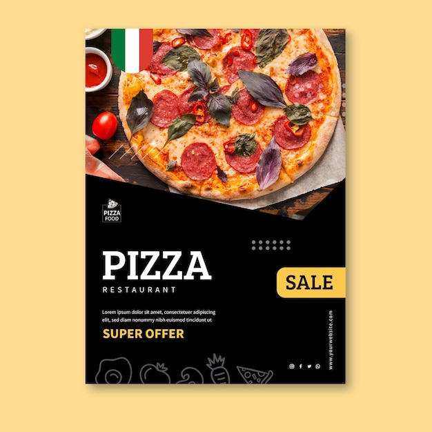 Pizza restaurant poster template Free Vector