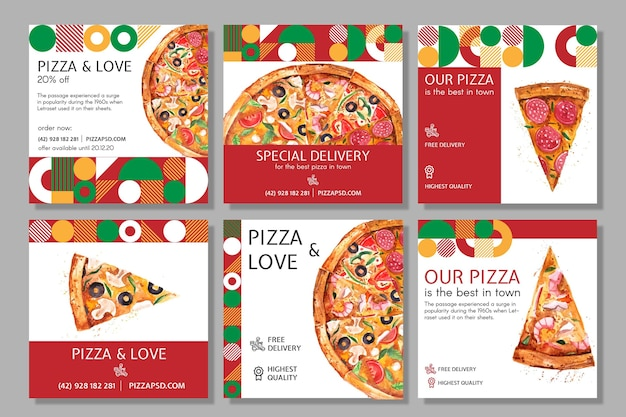 Pizza restaurant social media posts Free Vector