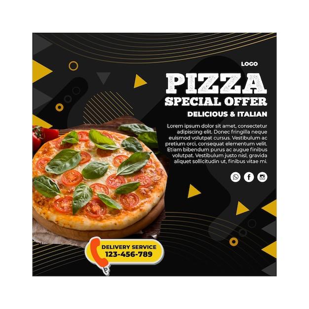 Pizza restaurant square flyer template Premium Vector