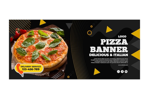 Pizza restaurant template banner Free Vector