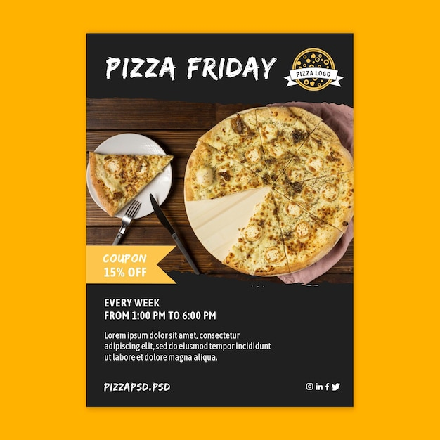 Pizza restaurant vertical flyer template Free Vector
