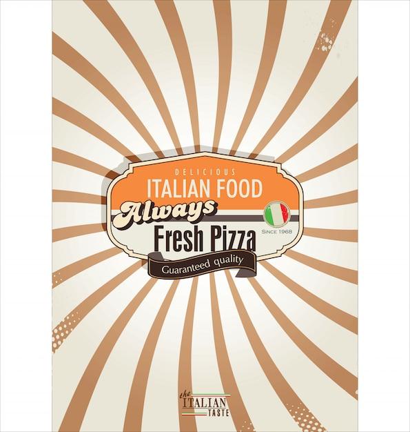 Pizza retro background Premium Vector