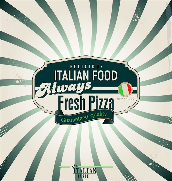Pizza retro background Premium Vector