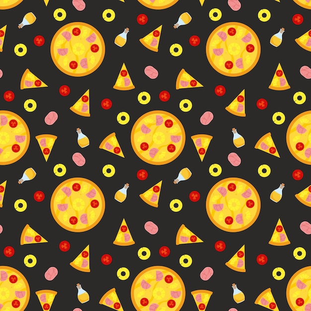 Pizza seamless pattern with slices and ingredients. Free Vector