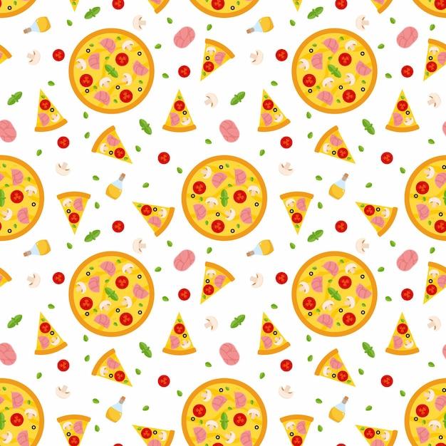 Modello senza cuciture di pizza con fette e ingredienti. Vettore gratuito