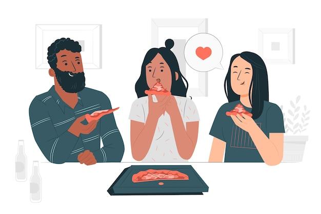 Illustrazione di concetto di condivisione della pizza Vettore gratuito