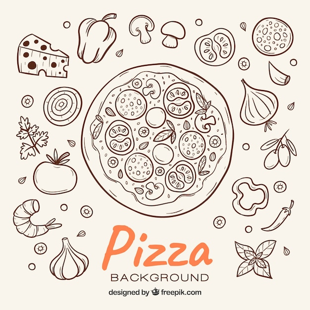 Pizza sketch background and ingredients Free Vector
