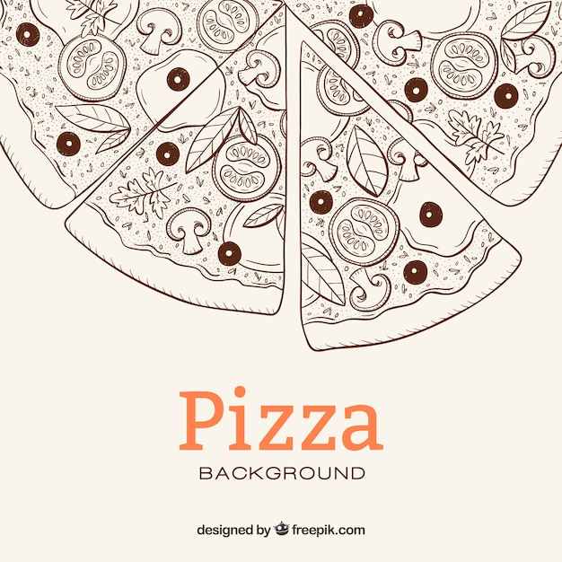Pizza sketch background Free Vector