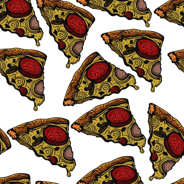 Pizza sketch hand drawn pattern vector illustration Premium Vector