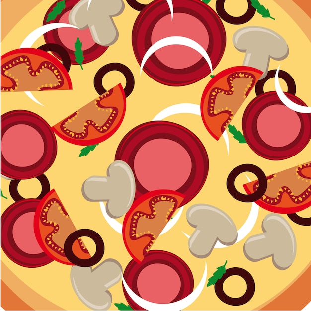 Pizza skin over dish background vector illustration Premium Vector