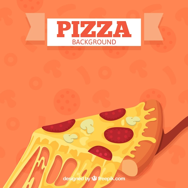 Pizza slice background with cheese Vector | Free Download