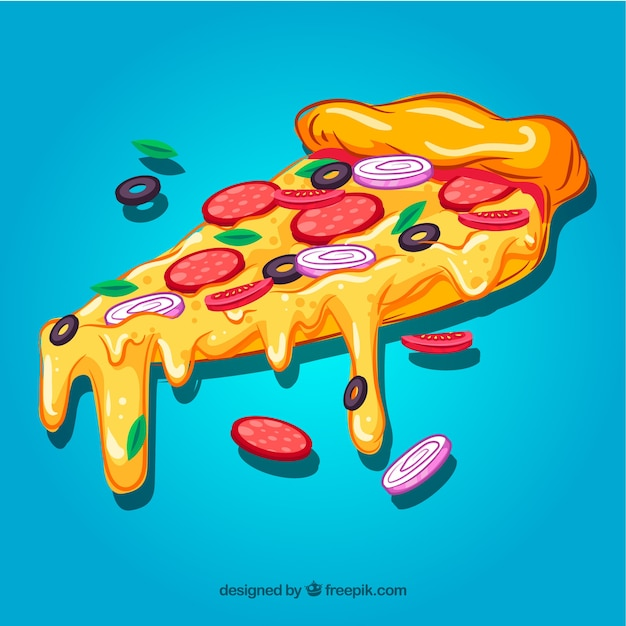 Pizza slice background Premium Vector