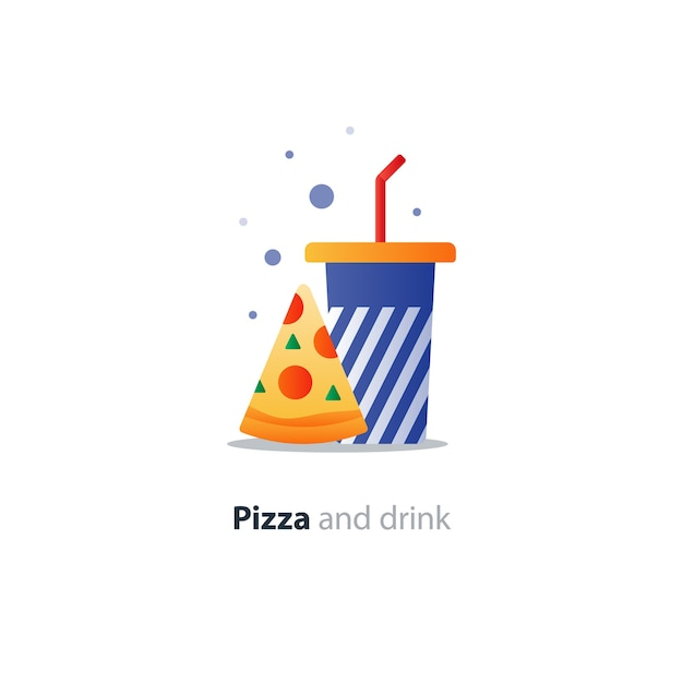 Pizza slice and blue tumbler glass with stripes, eat and drink concept icon, fast food cafe offer Premium Vector