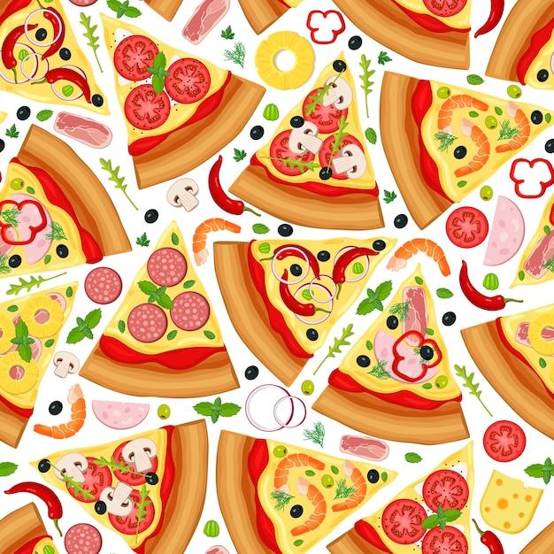ピザのスライスのシームレスパターン Premiumベクター