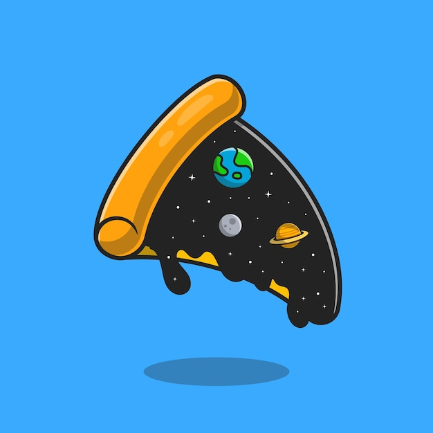 Pizza space topping cartoon. flat cartoon style Free Vector