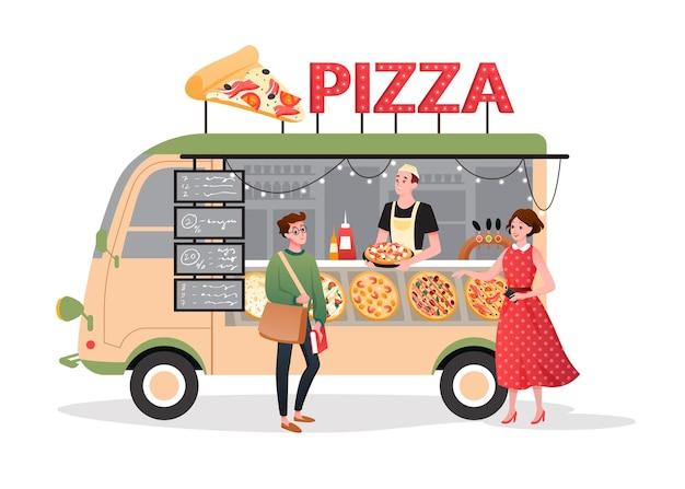 Pizza street market food truck. cartoon mini pizzeria restaurant mobile shop in van bus foodtruck m