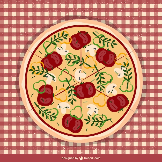 Pizza on tablecloth vector Free Vector