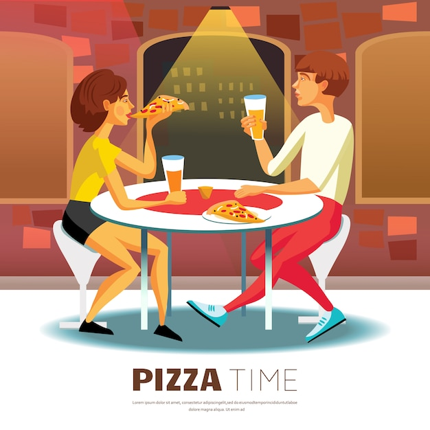 Pizza time illustration Free Vector