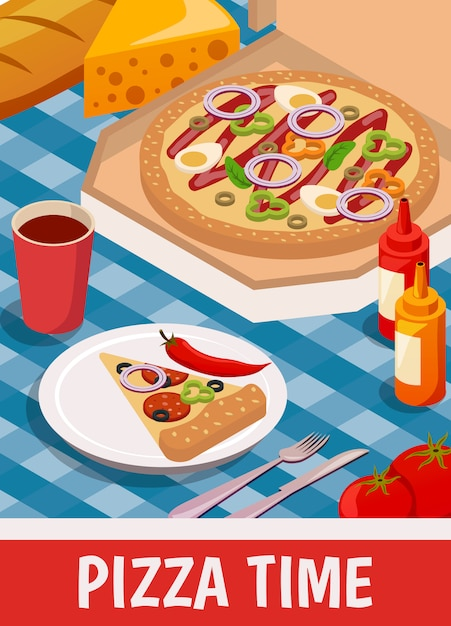 Pizza time isometric Free Vector