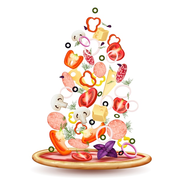 Pizza toppings pile composition Free Vector