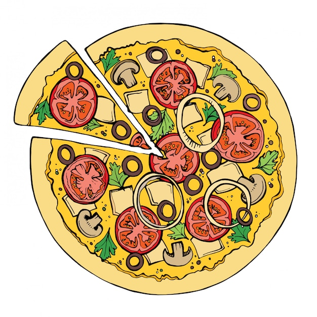Pizza vector sketch. Premium Vector