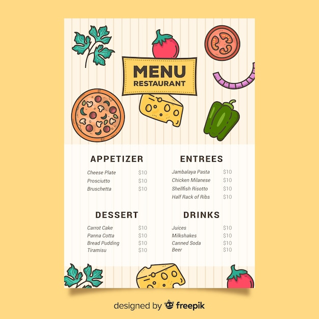 Pizza and veggies for food template Free Vector