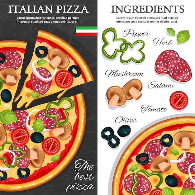 Pizza vertical banners Free Vector