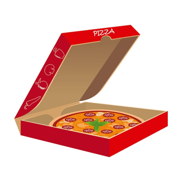 Pizza with its box in vector Premium Vector