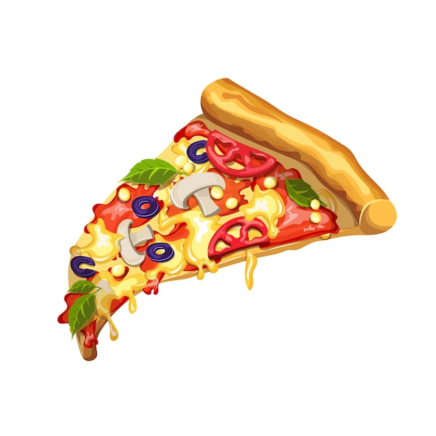 Pizza with mushrooms, tomato paste, cheese, tomato, corn, cheese and olives. slice of pizza on a white background.  drawing Premium Vector