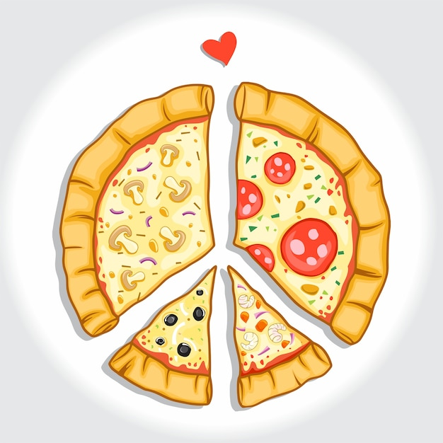 Pizza With Peace Of Symbol Vector Premium Download