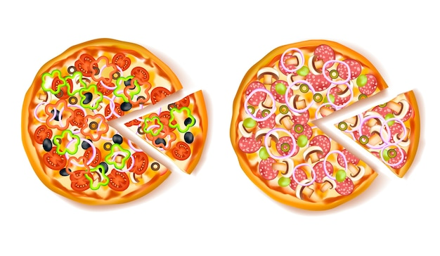 Pizza with slice composition Free Vector