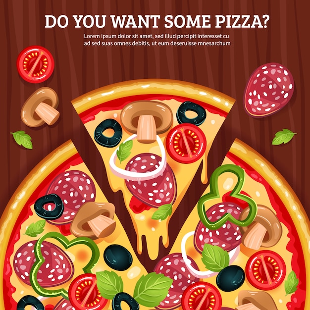 Pizza on wooden board background Free Vector