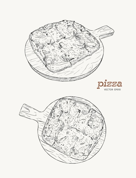 Pizza on the wooden board hand draw sketch vector. ham , bacon and cheese. Premium Vector