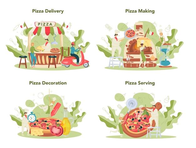 Набор концепции пиццерии. шеф-повар готовит вкусную вкусную пиццу. итальянская еда. салями и сыр моцарелла, ломтик помидора. Premium векторы
