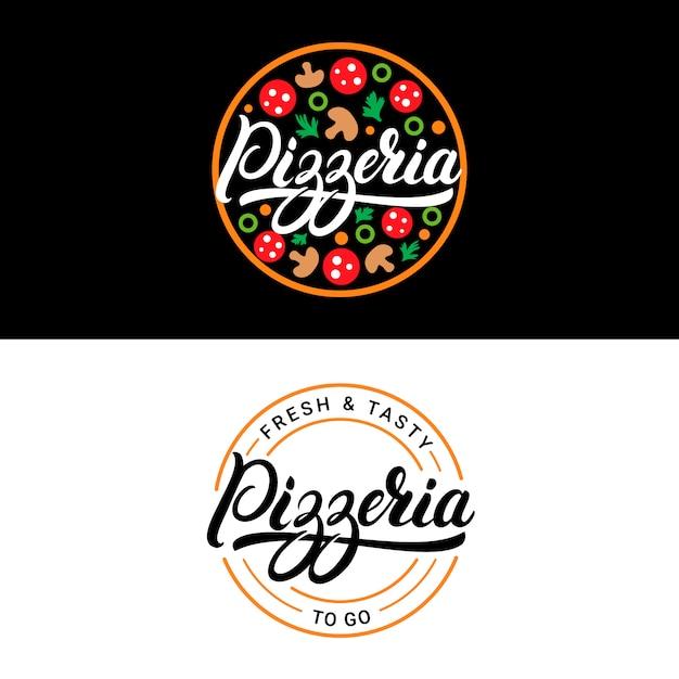 ピッツェリア手書きレタリングロゴ Premiumベクター