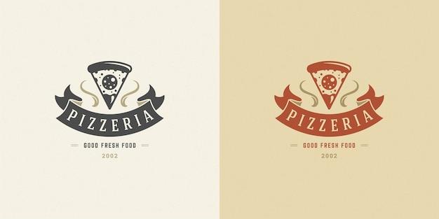 ピッツェリアロゴイラストピザスライスシルエットセット Premiumベクター