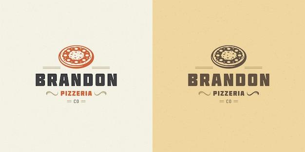 レストランのメニューやカフェのバッジに適したピッツェリアのロゴのベクトル図ピザのシルエット Premiumベクター