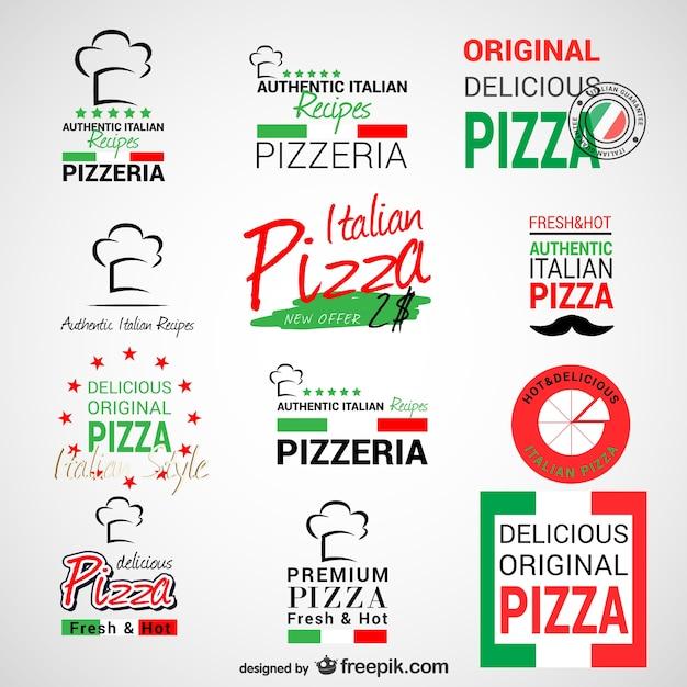 Pizzeria logos set Free Vector