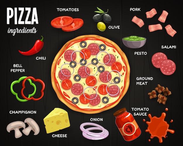 ピッツェリアメニュー、ピザの材料トマト、オリーブと豚肉、サラミ、ペスト、トマトソースのひき肉。タマネギ、チーズ、シャンピニオン、ピーマン、チリ、ファーストフードのピザ上面図のお食事 Premiumベクター
