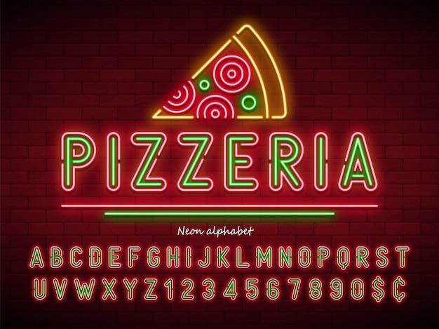 Пиццерия неоновый свет алфавит, дополнительный светящийся шрифт Premium векторы