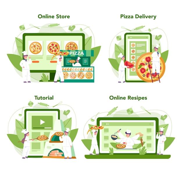 Пиццерия онлайн-сервис или платформа. шеф-повар готовит вкусную вкусную пиццу. итальянская еда. интернет-магазин, доставка, рецепт или видеоурок. отдельные векторные иллюстрации в мультяшном стиле Premium векторы