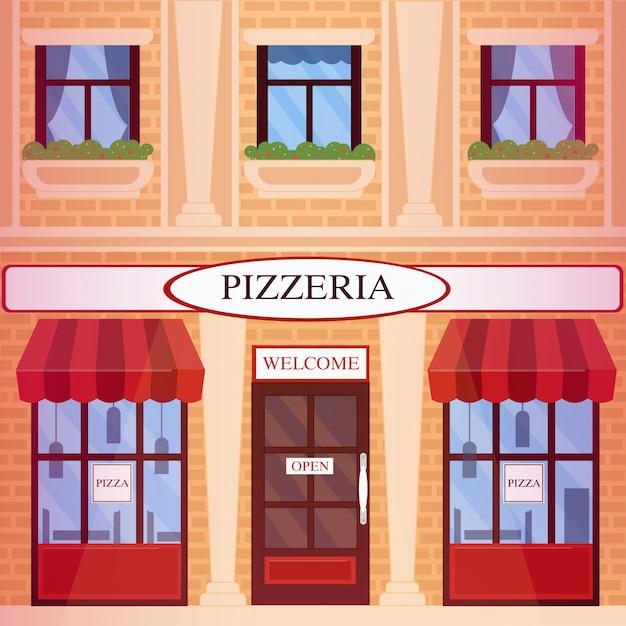Pizzeria restaurant building in flat style Premium Vector