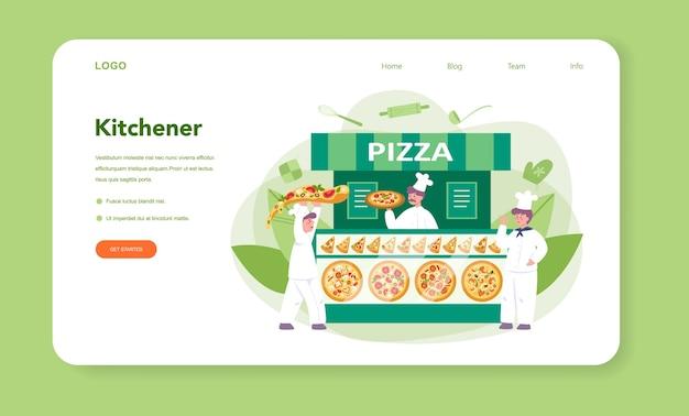Веб-баннер или целевая страница пиццерии Premium векторы