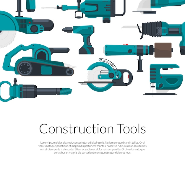 Place for text with electric construction tool set Premium Vector